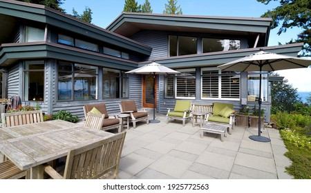 California, 27 February 2021: Luxurious Decorative Balcony Terrace With Natural View Outside Of Modern Mansion. Concept Of Marbled Patio, Architecture And Relaxation.