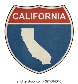 California American interstate highway road shield isolated on a white background.