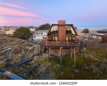 California Beach House At Sunset