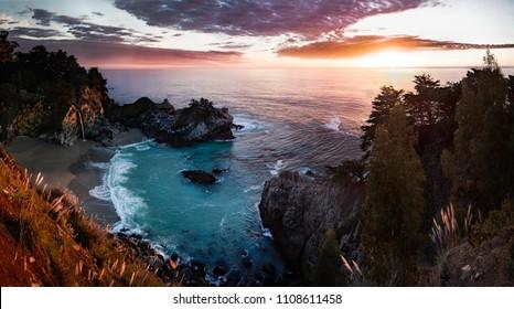 California Big Sur Sunset Panorama of McWay Falls