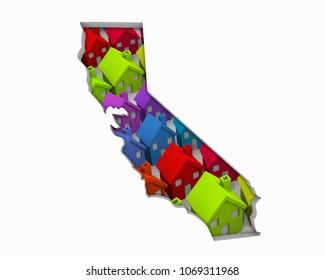 California CA Homes Homes Map New Real Estate Development 3d Illustration