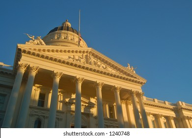 California Capitol building in Sacramento illuminated by the evening sun
