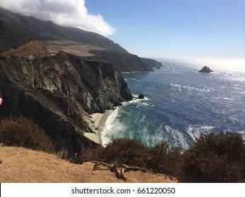 California coast with surf