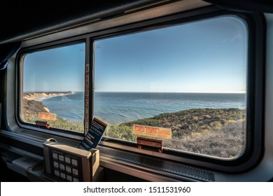 California Coast, USA - Sep 5, 2019: Ocean view from the Coast Starlight Amtrak train