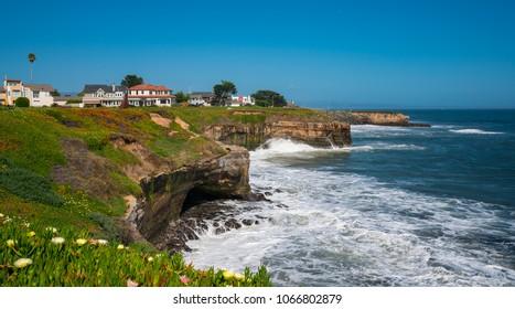 California coastline with blue sky