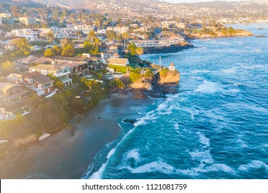 California Coastline at sunset. Aerial view. Houses on the coast in California, USA