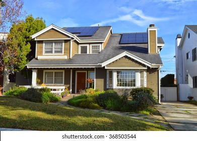 California Dream Houses and estates with a solar panel on the roof. Los Angeles, CA.