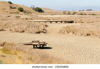 California Drought showing wetlands totally dried up