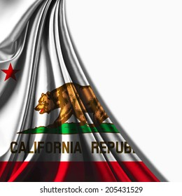 California  flag of fabric and white background