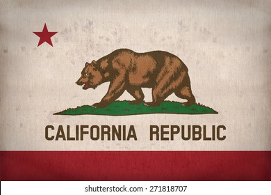 California flag on fabric texture,retro vintage style