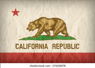 California flag on paper texture,retro vintage style