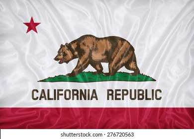 California flag pattern on fabric texture,retro vintage style
