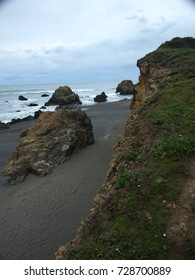 California, Fort Bragg Bluffs, rocky coast, and Sand