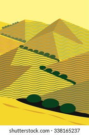 California Hills in Yellow Ocher with oak trees winding up mountain peaks