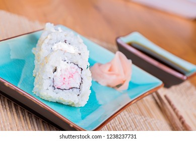 California maki sushi with crab meat. Roll made of crab meat and cream cheese. Shallow depth of field.