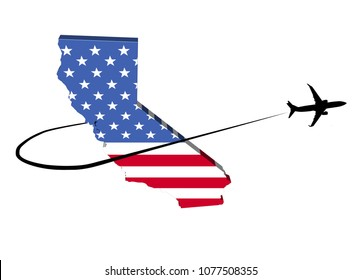 California map flag with plane silhouette and swoosh 3d illustration