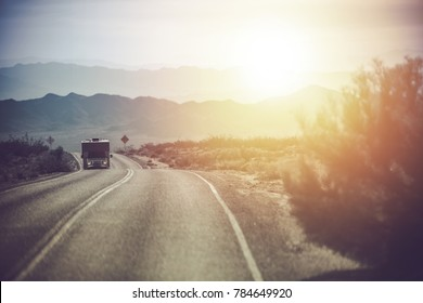 California Mojave Desert RV Motorhome Trip. Road Travel in the Camper Van. United States of America.