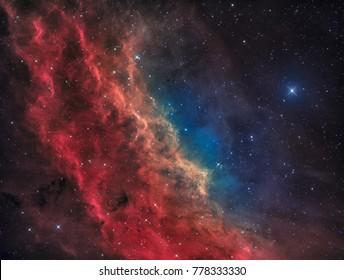 Der Kalifornische Nebel im Sternbild Perseus mit dem hellen Star Menkib