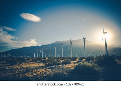 California Renewable Energy. Wind Energy Power Plant. Coachella Valley, United States of America.