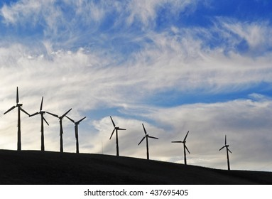 California: a row of wind turbines in a field on June 16, 2010. California is rich in wind turbines, that convert wind energy into a usable form of green energy