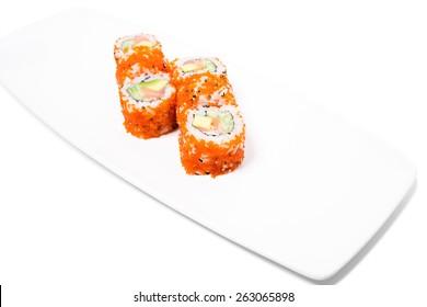 California sake sushi roll. Isolated on a white background.