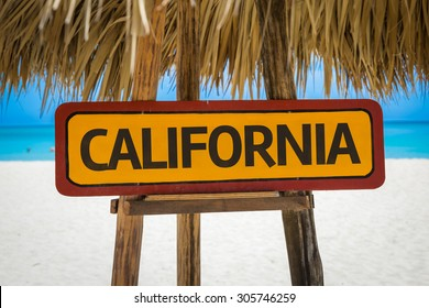 California sign with beach background