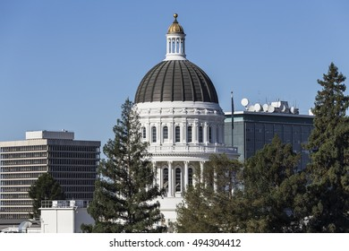 California State Capitol building dome in Sacramento.