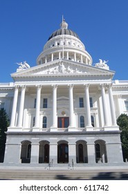 California State Capitol building in Sacramento, closeup front view