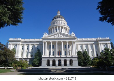 California State Capitol building in Sacramento, wide angle view