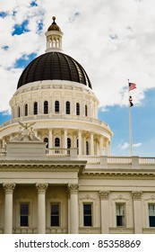 california state capitol building in sacramento, Done and California State Flag