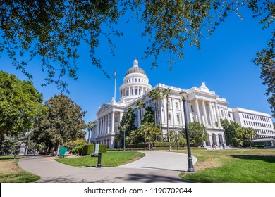 California State Capitol building and the surrounding park in downtown  Sacramento, California