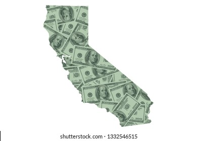 California State Map and Money, Hundred Dollar Bills