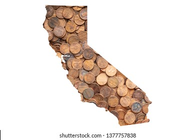 California State Map and Money, Piles of Coins, Pennies