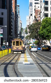 California Street in San Francisco San Francisco,California,USA - July 25, 2014 : View of California Street from below