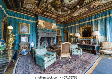 California, USA, 09 Jun 2013: Living room with breathtaking details and decorated with antiques at Hearst Castle, which is a California Historical Landmark opened for public tours.