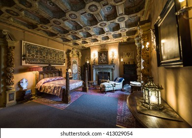 Captivating California, USA, 09 Jun 2013: Beautiful And Luxurious Bedroom With  Inctricate Carvings And