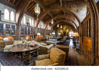 California, USA, 09 Jun 2013: Grand spacious living and dining room at Hearst Castle, which is a National and California Historical Landmark opened for public tours.