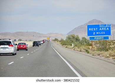 CALIFORNIA USA - APRIL 15, 2014 : Rest area Sign . A rest area is a public facility, located next to a large thoroughfare such as a highway at which drivers and passengers can rest, eat, or refuel.