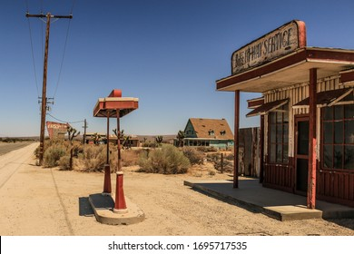 California, USA - August 23rd 2019 : Abandoned vintage gas station in the Californian desert (movie set)