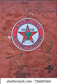 "California, Usa - July 26, 2017: Texaco Sign. Texaco, Inc. (""The Texas Company"") is an American oil subsidiary of Chevron Corporation."