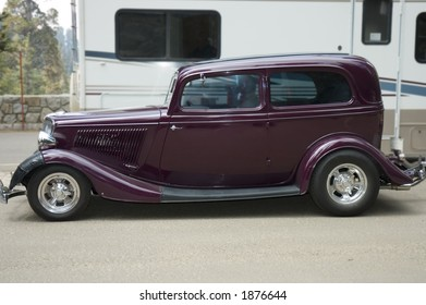 California, USA - May 5th, 2006 :  Old style 1930's Ford Coupe in camping ground in California, USA