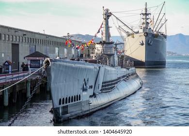 CALIFORNIA, USA:December 12,2018:Submarine USS Pampanito used in world war 2