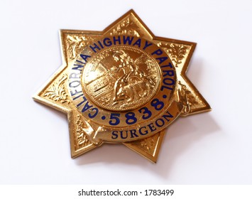 californian highway patrol police badge  on white background
