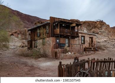 California/USA - 12/20/2014 Calico ghost town in California, Mojave. Old hotel.