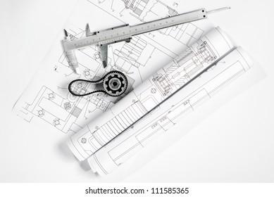 caliper with gear on blueprint