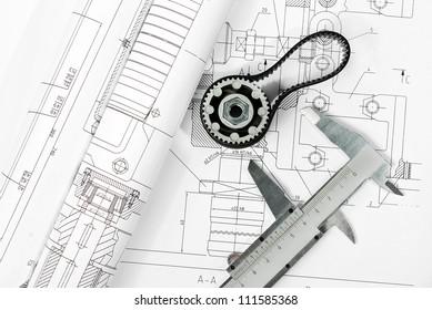 caliper with gear on cad print