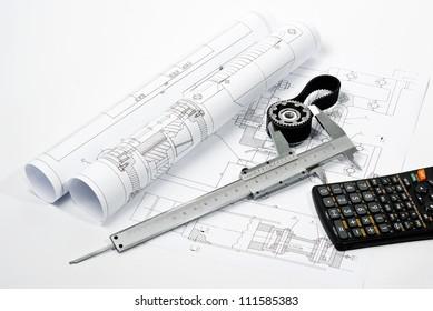 caliper on blueprint