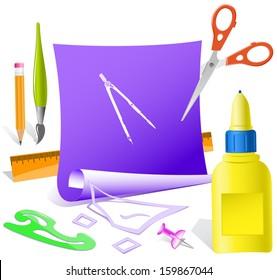 Caliper. Paper template. Raster illustration.