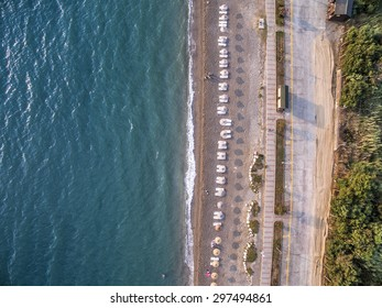 Calis Beach Aerial View From Drone Camera