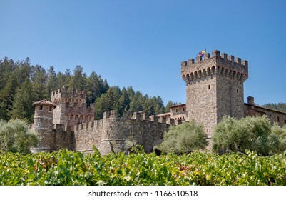 Calistoga, CA / USA - August 26, 2018: Castello di Amorosa Winery and fields on a summer day